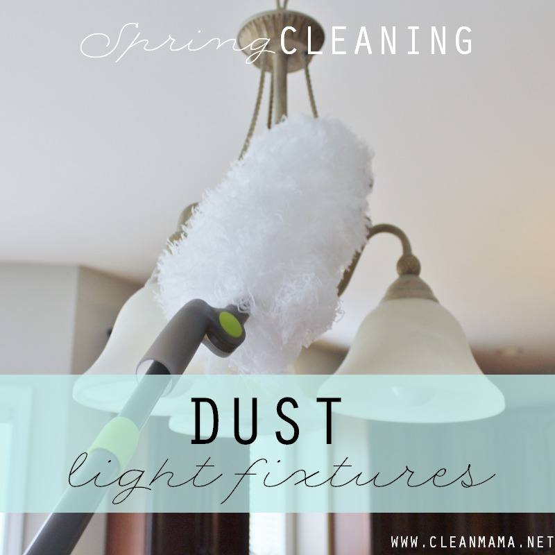 Day 9 Dust Light Fixtures via Clean Mama