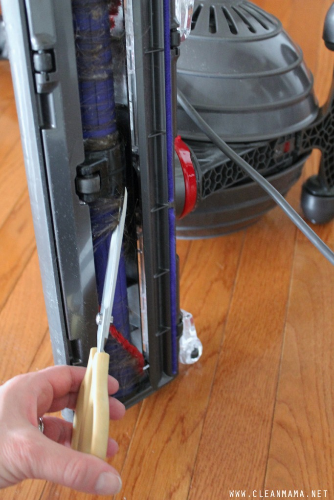 Use a Scissors to Cut Anything that's Tangled in the Beater Bar via Clean Mama