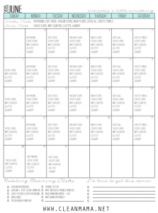 Fresh Start Calendar for June 2015 via Clean Mama