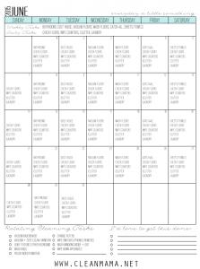 Fresh Start Calendar for June 2015 via Clean Mama