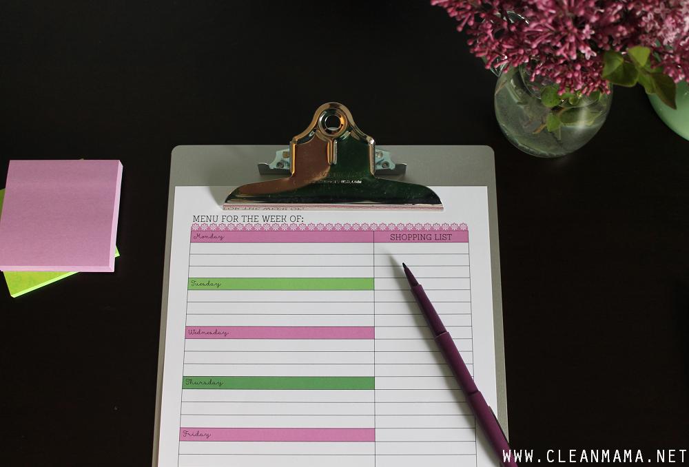June Homekeeping Society via Clean Mama - Menu Planning