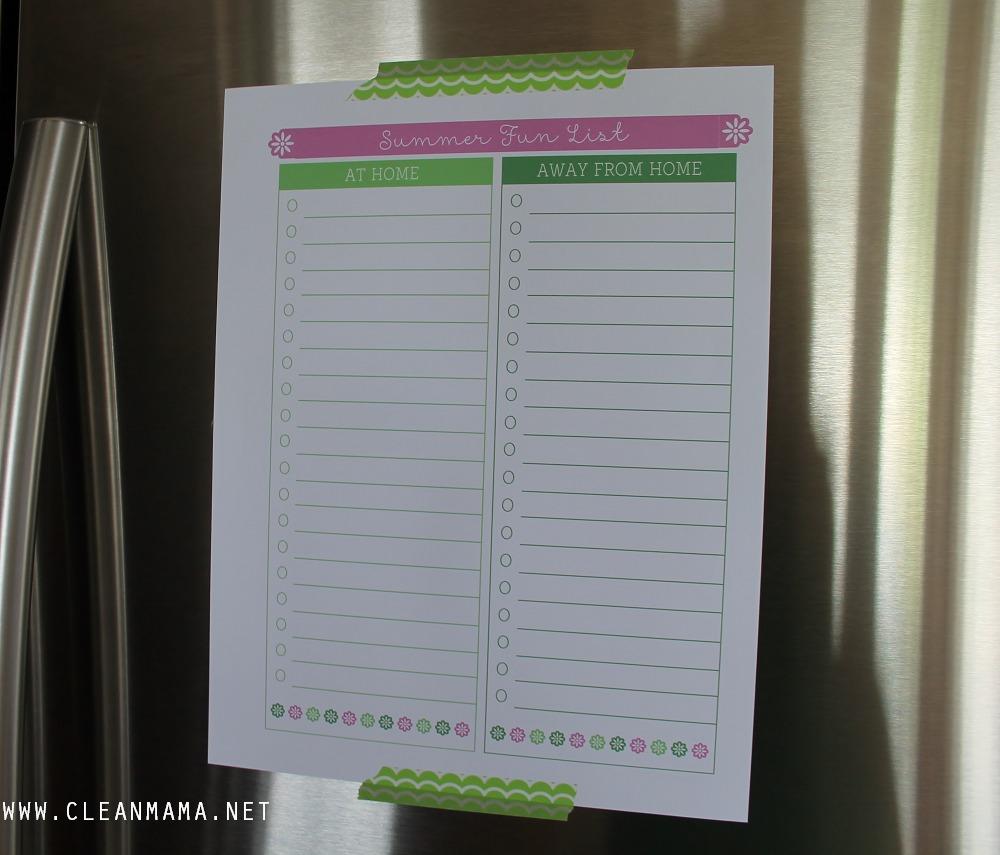 June Homekeeping Society via Clean Mama - Summer Fun List