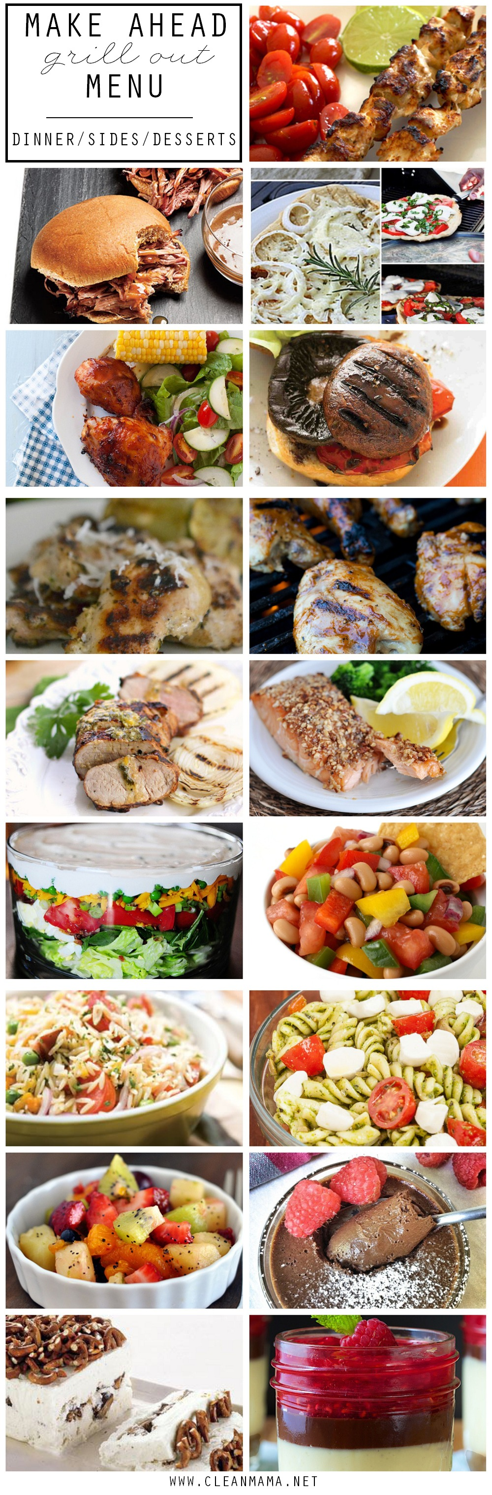 Make Ahead Grilling and Get Together Menu via Clean Mama