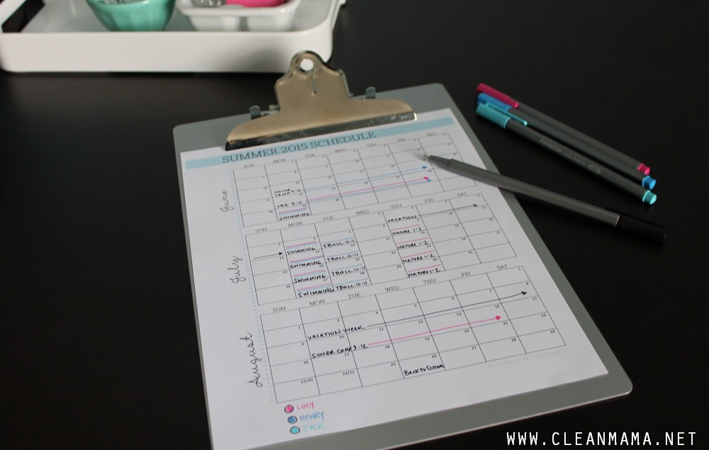 Organize Your Summer with this Summer 2015 Schedule FREE Printable via Clean Mama