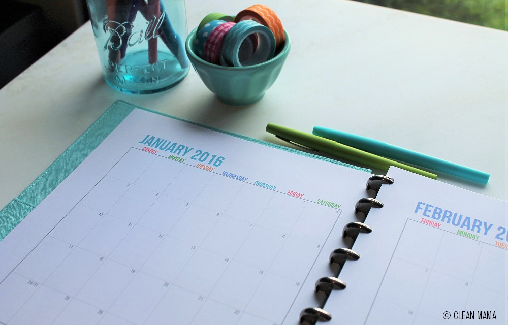 Streamlined Life Calendar Close - Up - Clean Mama