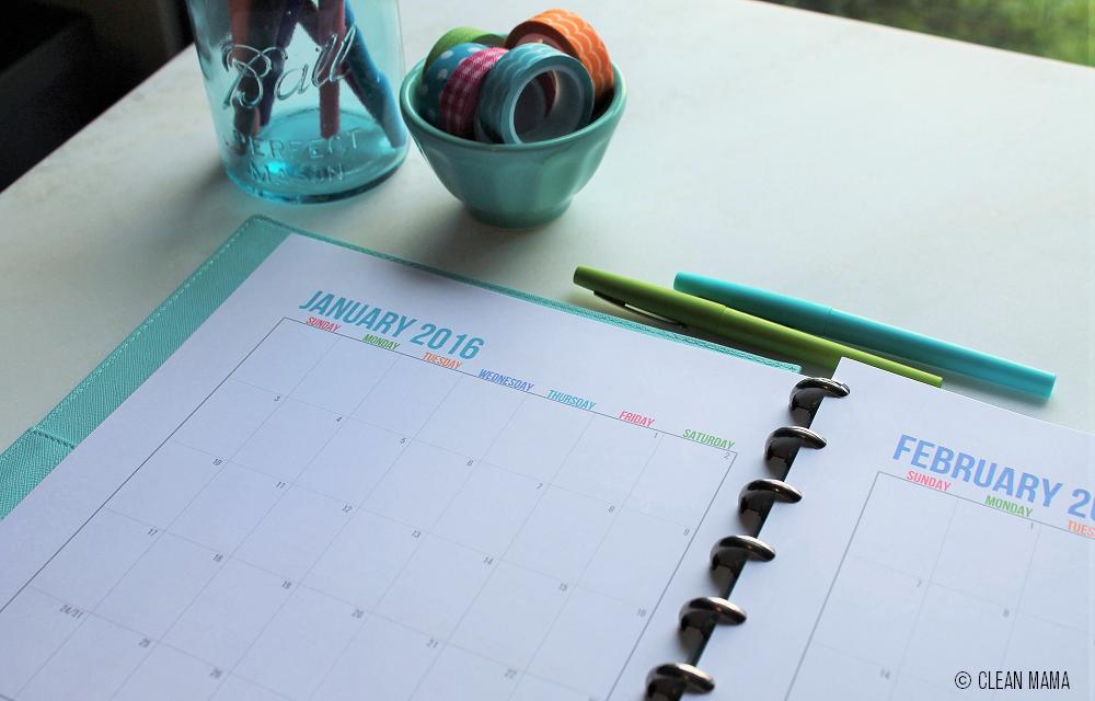 Streamlined Life Calendar Close - Up - Clean Mama
