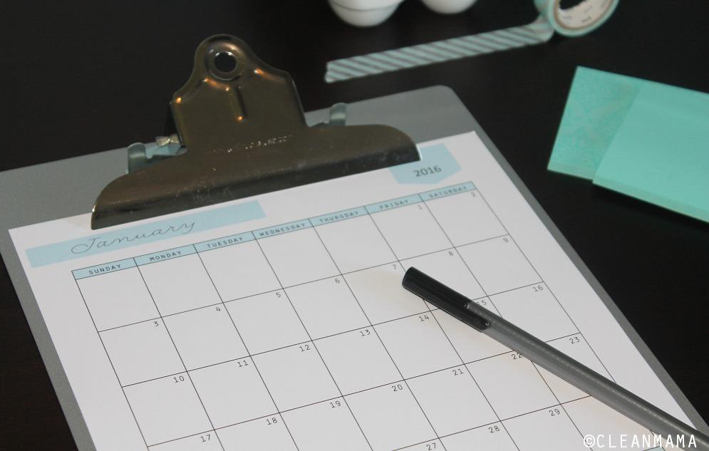 2016 Everyday Calendar close up