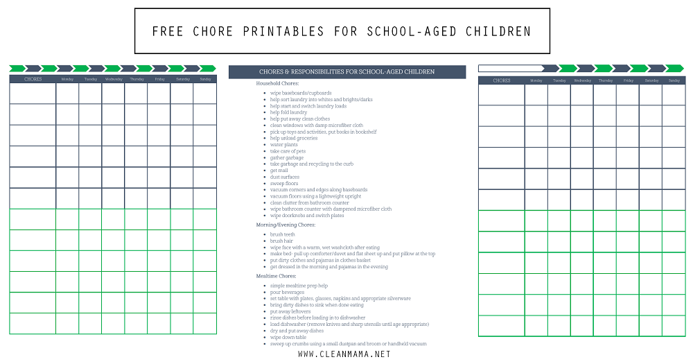 Free Chore Printables for School Aged Children via Clean Mama