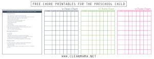Free Chore Printables for the Preschool Child via Clean Mama