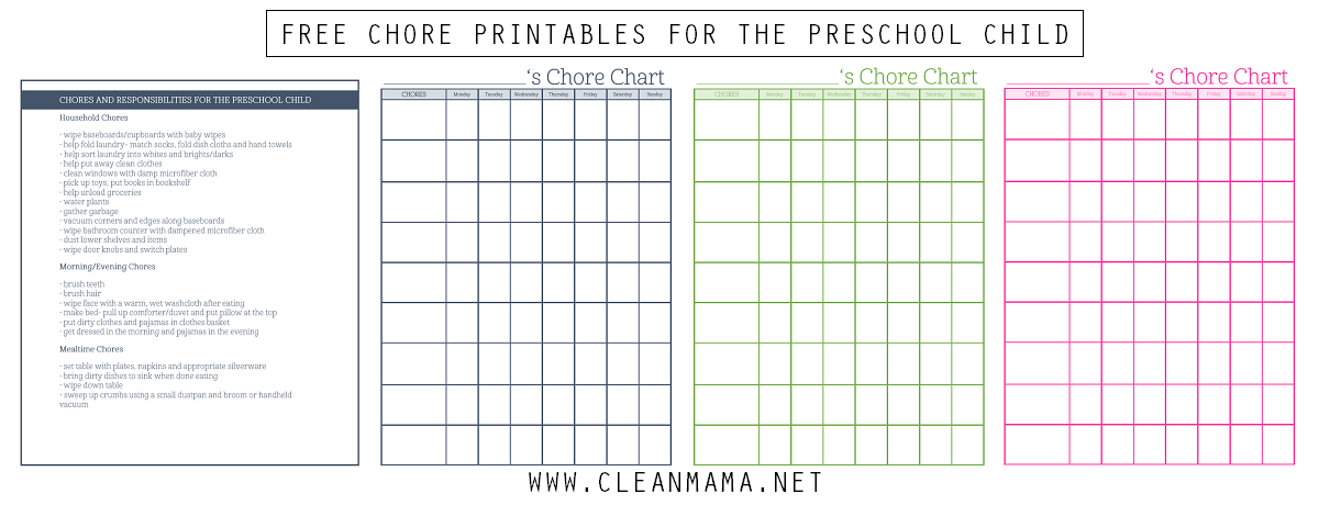 Free Chore Printables for the Preschool Child via Clean Mama