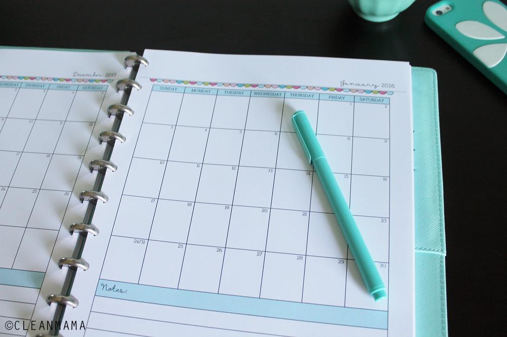 Homekeeping Foundations Calendar Close-up via Clean mama