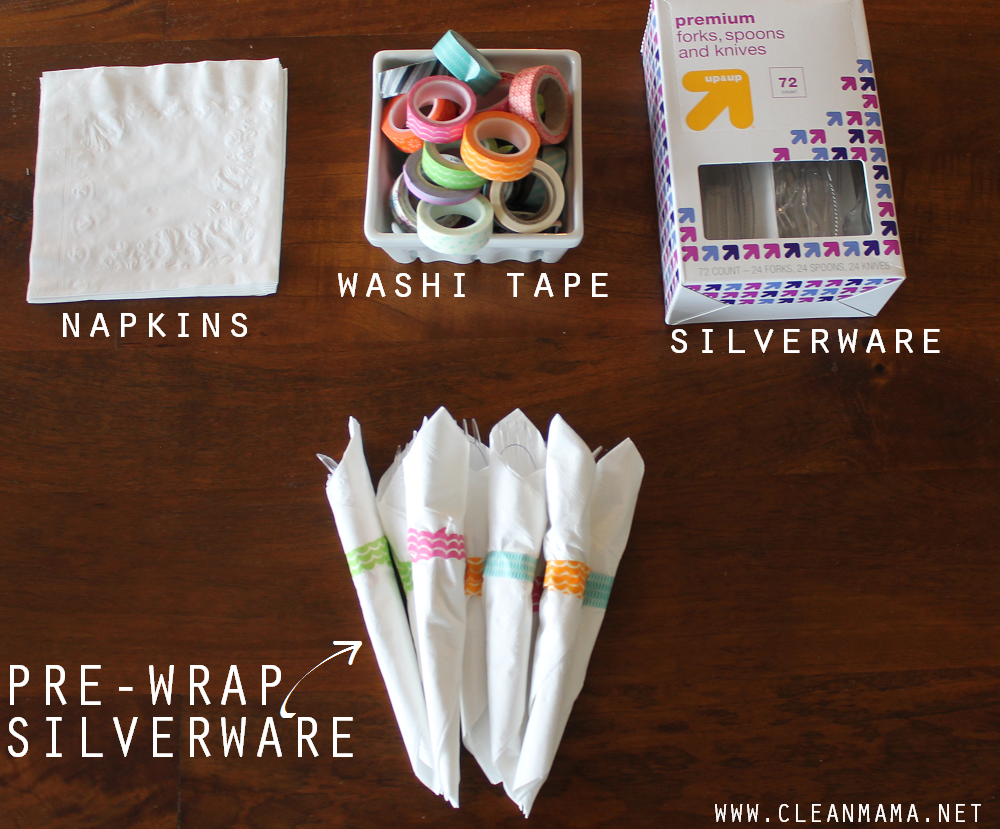 Pre-Wrap Silverware via Clean Mama