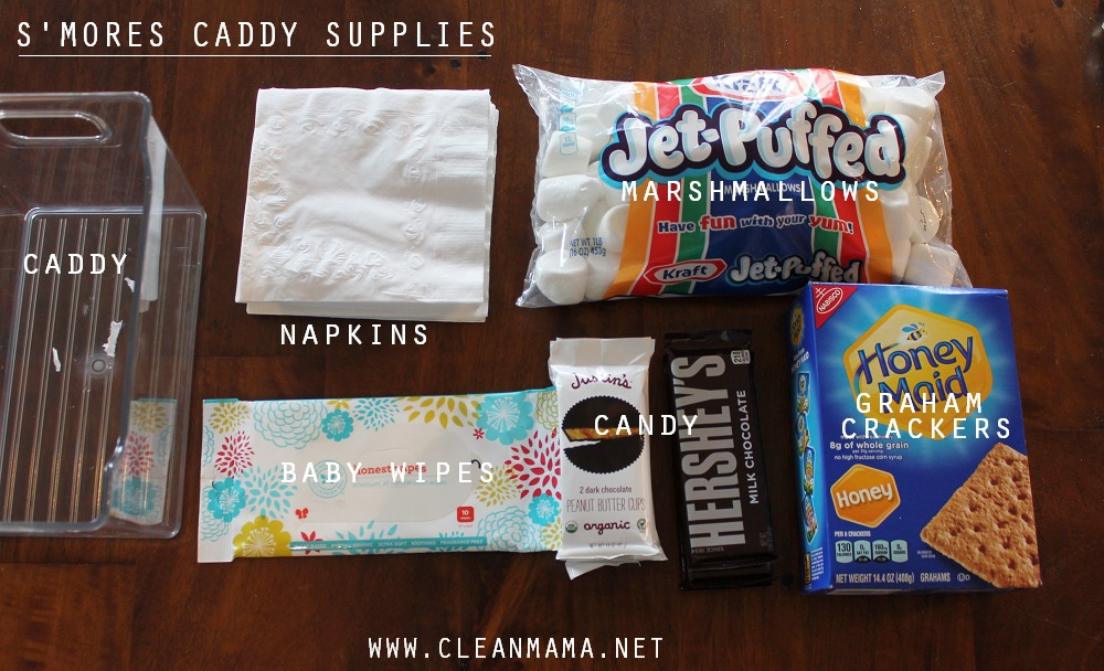 S'mores Caddy Supplies via Clean Mama