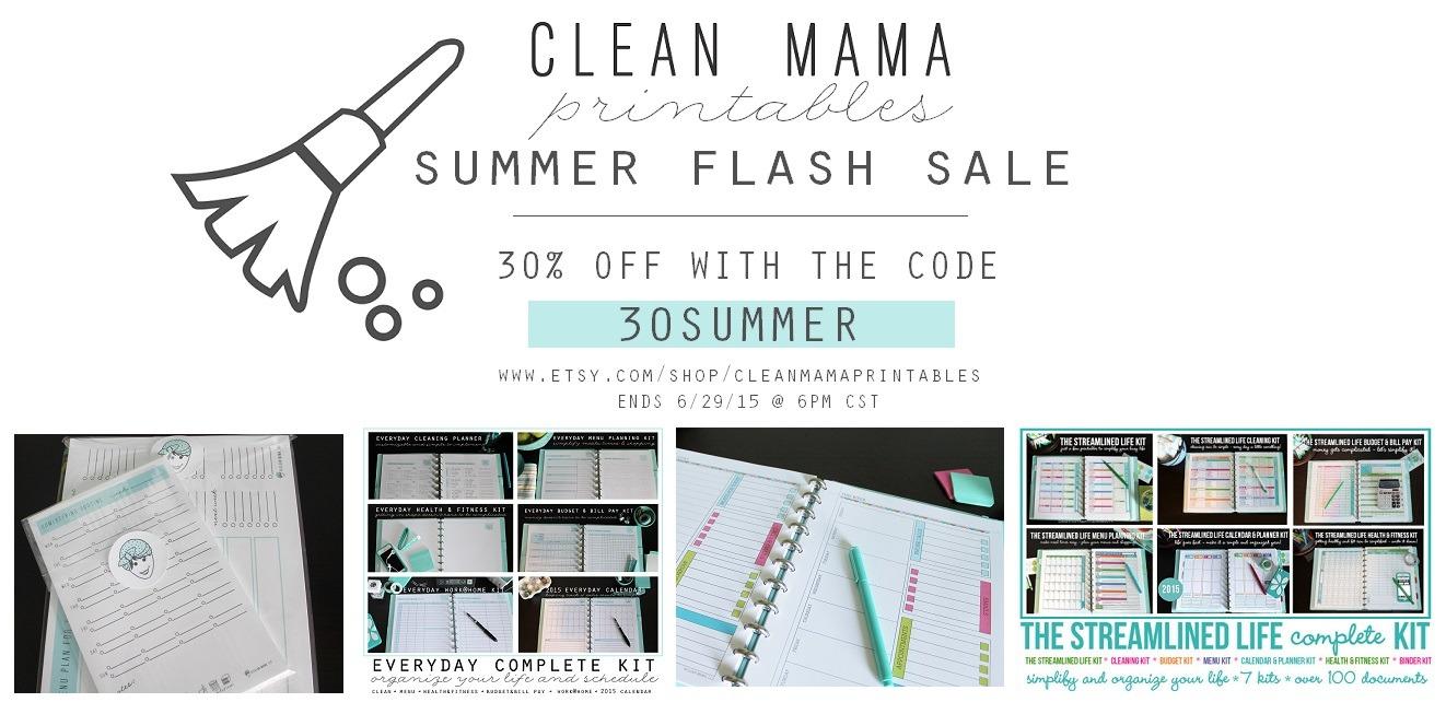 Summer Flash Sale - Clean Mama Printables