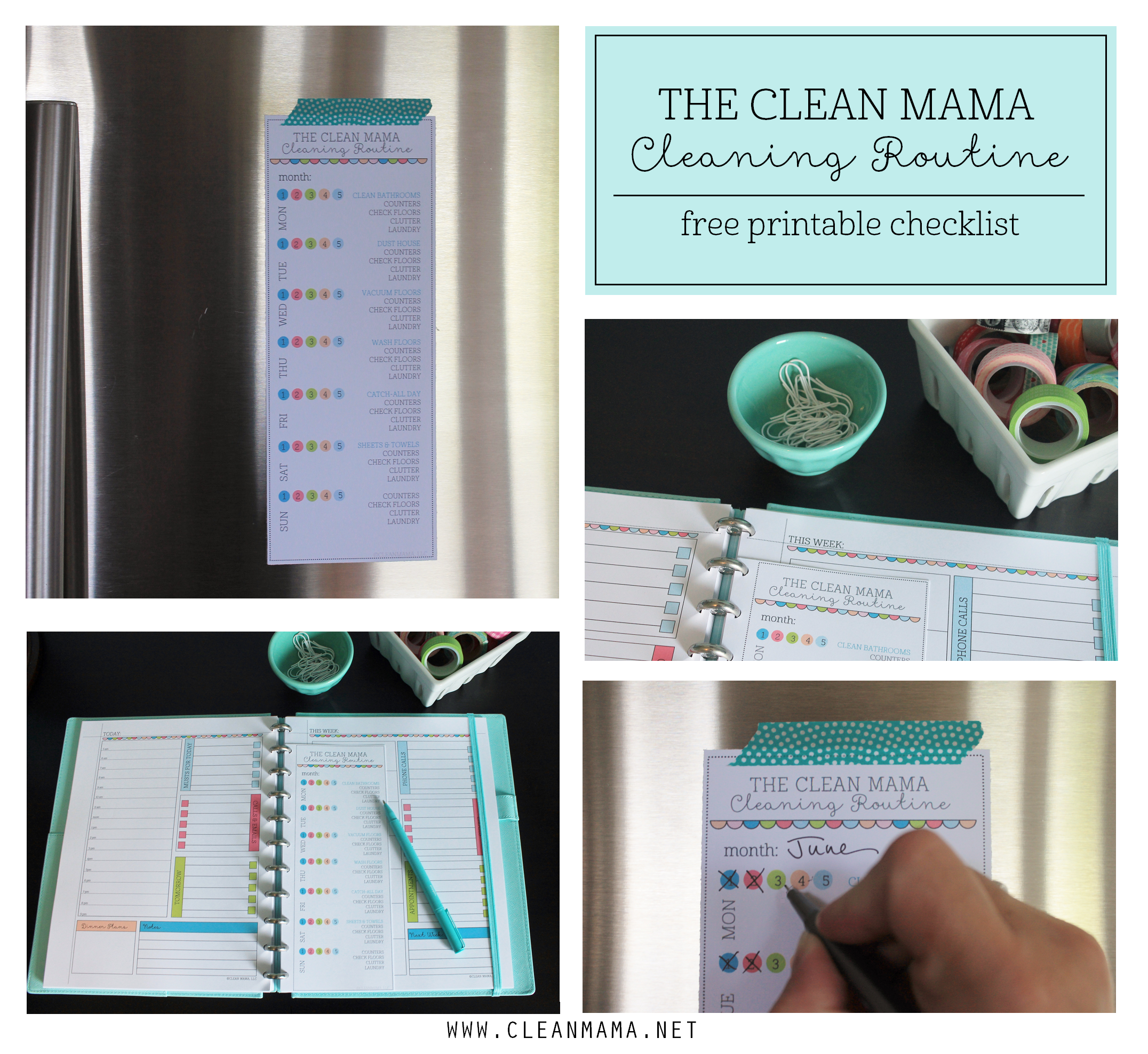 The Clean Mama Cleaning Routine FREE Printable Checklist via Clean Mama
