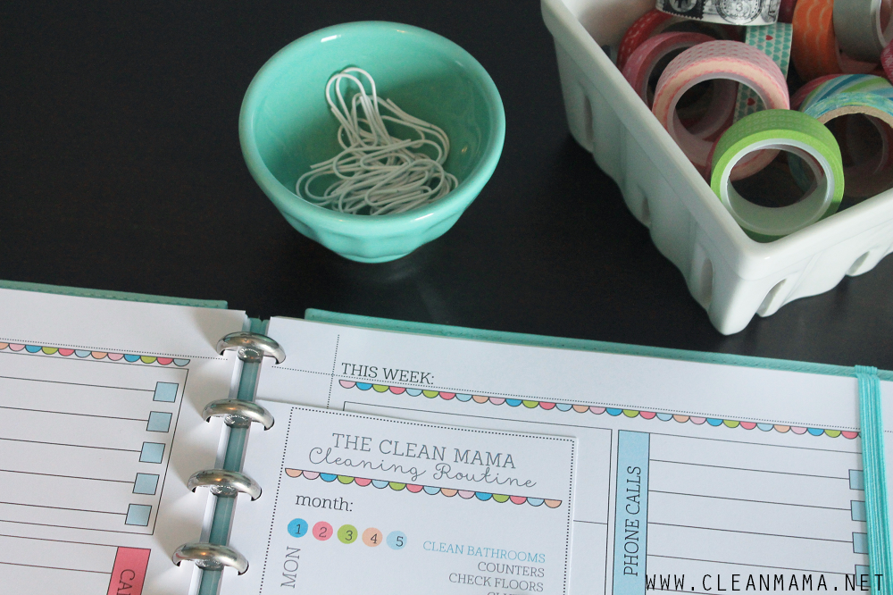 The Clean Mama Cleaning Routine Free Printable close-up in binder via Clean Mama