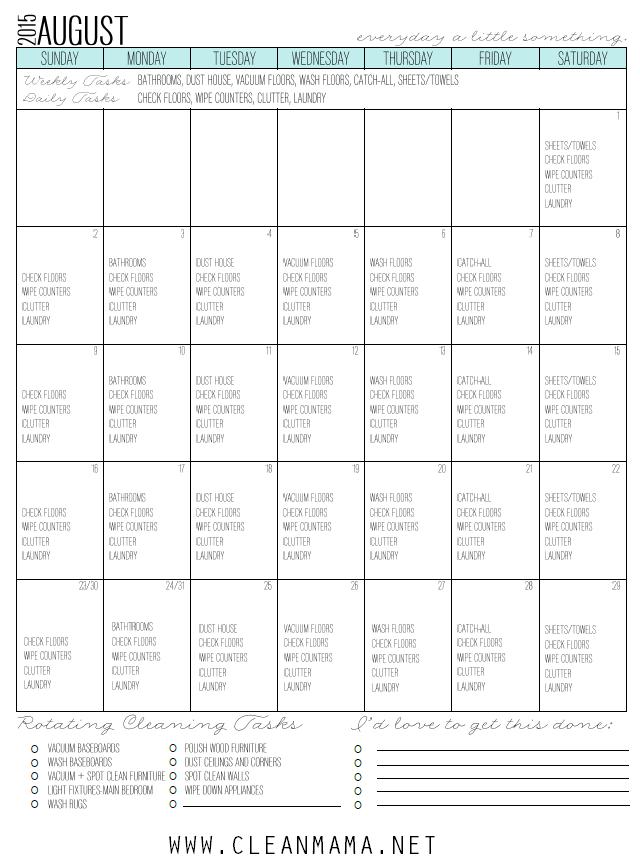 Fresh Start Calendar for August 2015