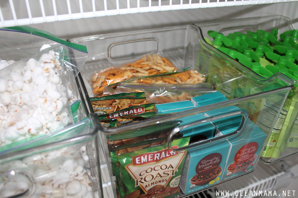 Keep Snacks in Bins to Keep them Organized via Clean Mama