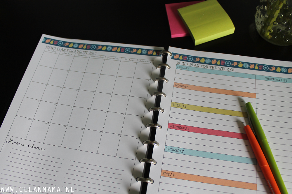Menu Planning - August Homekeeping Society via Clean Mama