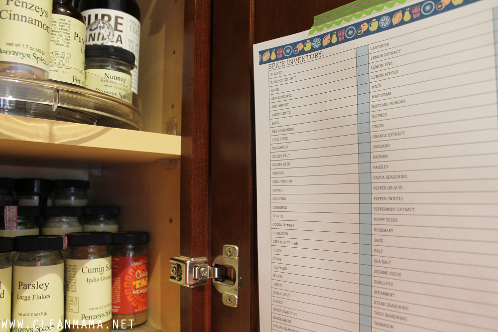 Spice Inventory - August Homekeeping Society via Clean Mama