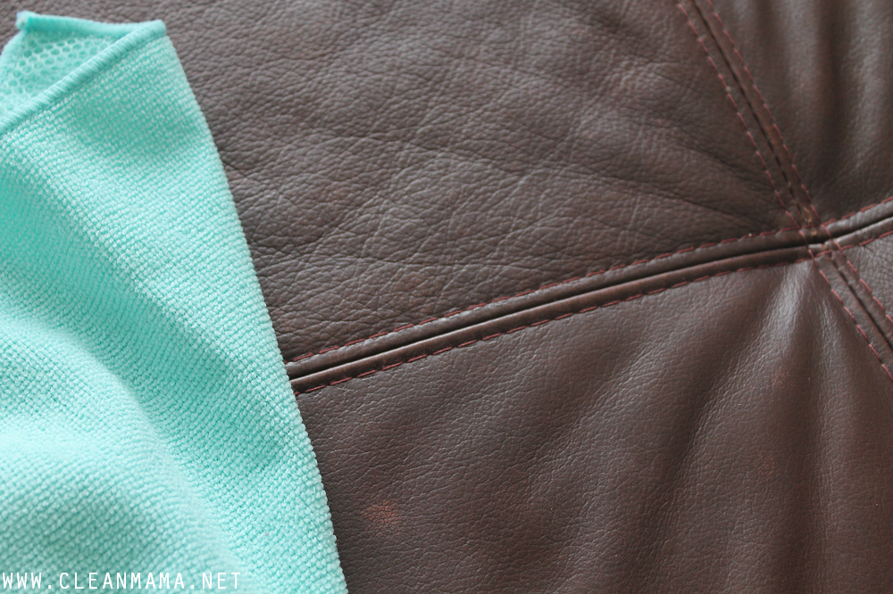 Use a barely damp  cloth with castile soap on leather furniture via Clean Mama