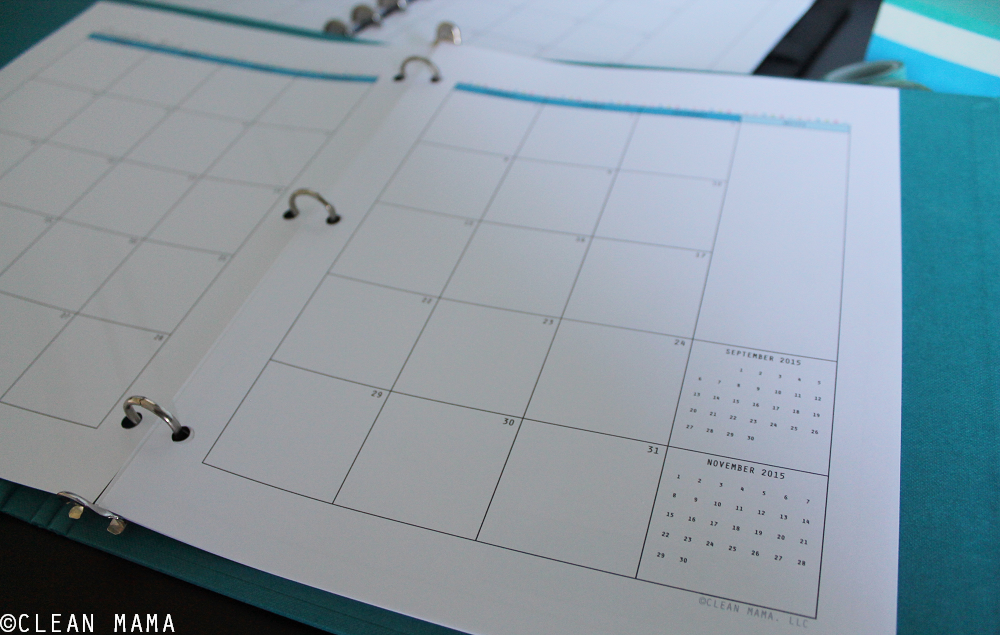 2 Page Calendar - Everyday a Little Something Planner via Clean Mama