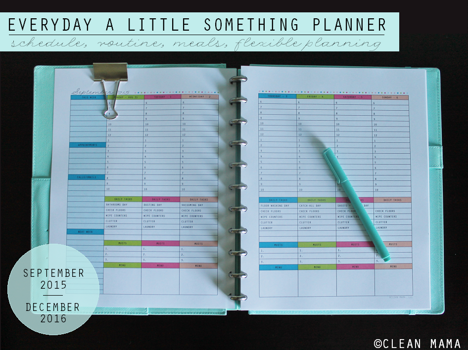 2 Page Weekly Planner MAIN - Everyday a Little Something Planner via Clean Mama