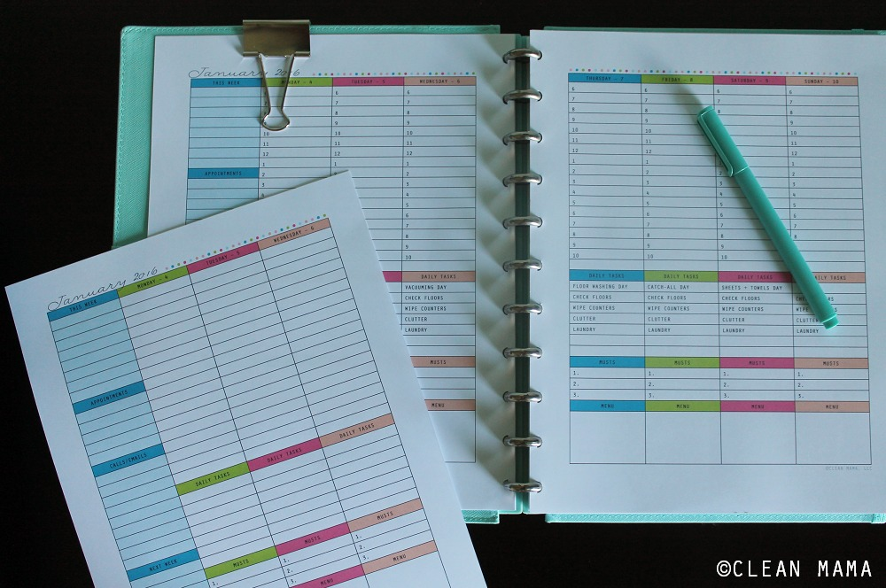 Blank and Pre-Filled - Everyday a Little Something Planner via Clean Mama