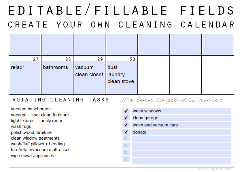 Editable-Fillable Fields - Create Your Own Cleaning Calendar - Clean Mama