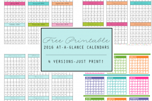 FREE Printable 2016 At-A-Glance Calendars - 4 Versions  courtesy of Clean Mama
