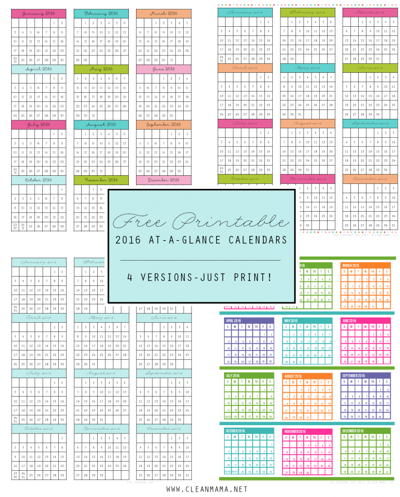 free 2016 at a glance calendars clean mama