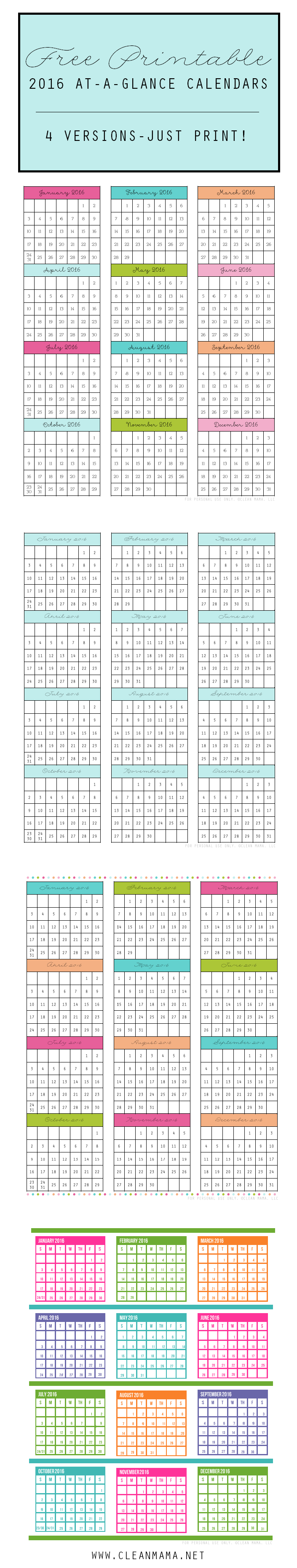 FREE Printable 2016 At-A-Glance Calendars - 4 Versions - courtesy of Clean Mama