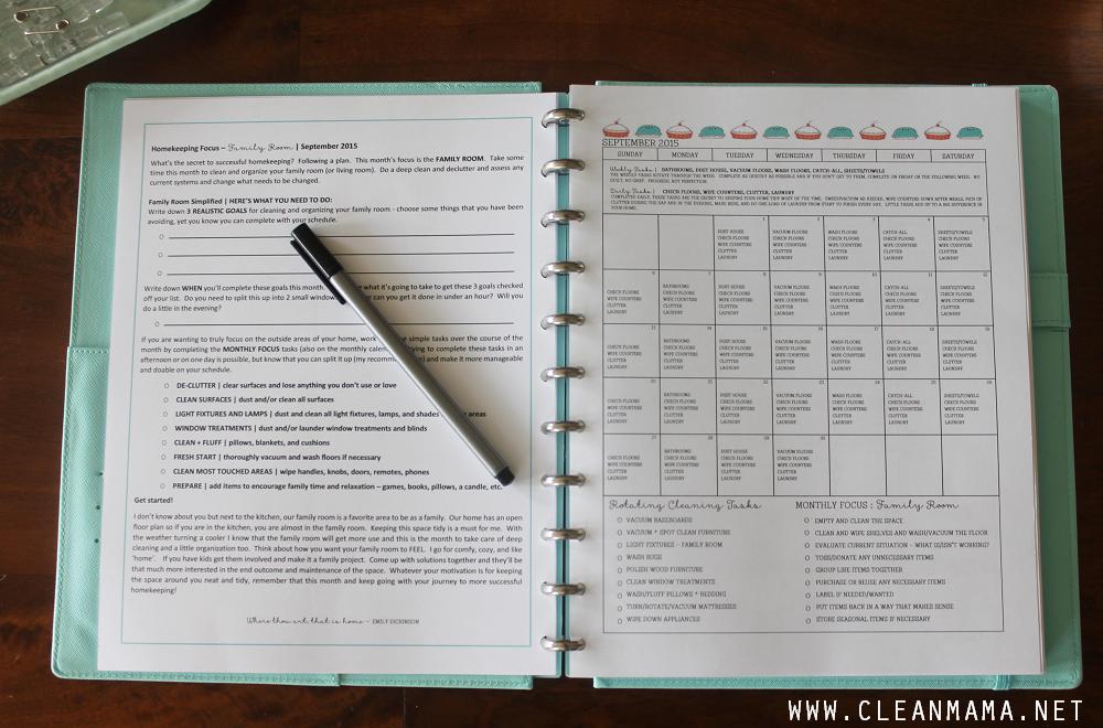 Homekeeping Focus and Pre-Filled Calendar - September Homekeeping Society via Clean Mama