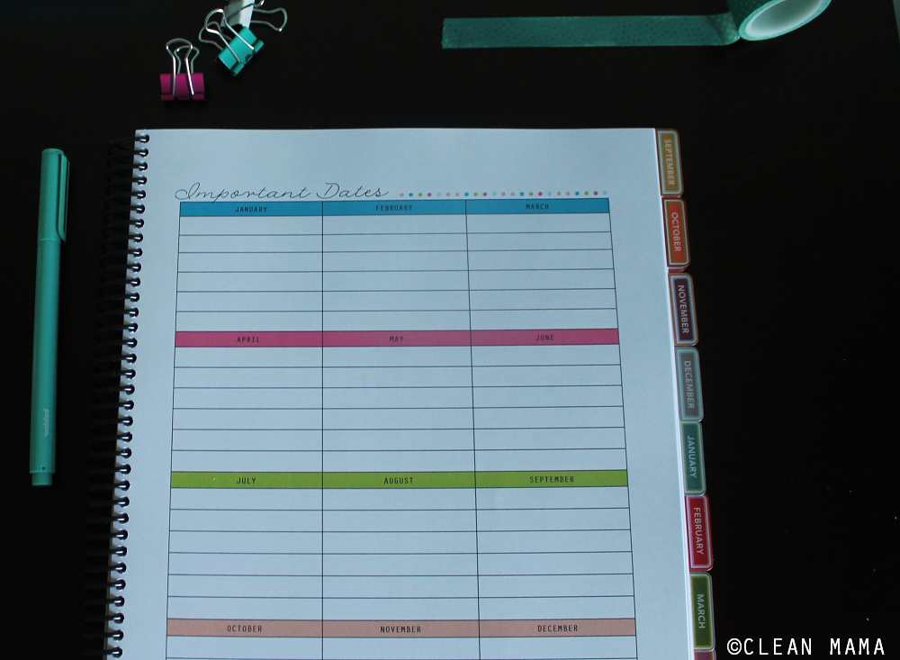 Important Dates - Everyday A Little Something Planner - Clean Mama