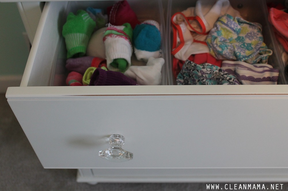 Keep Socks and Undies in Containers in Drawers via Clean Mama