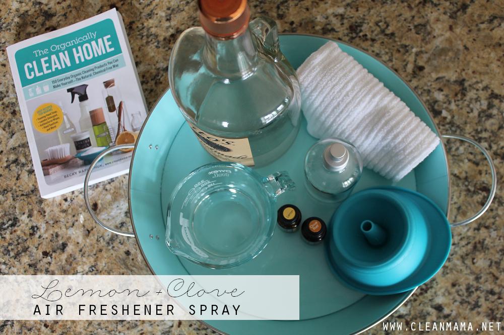 Lemon + Clove Air Freshener Spray via Clean Mama