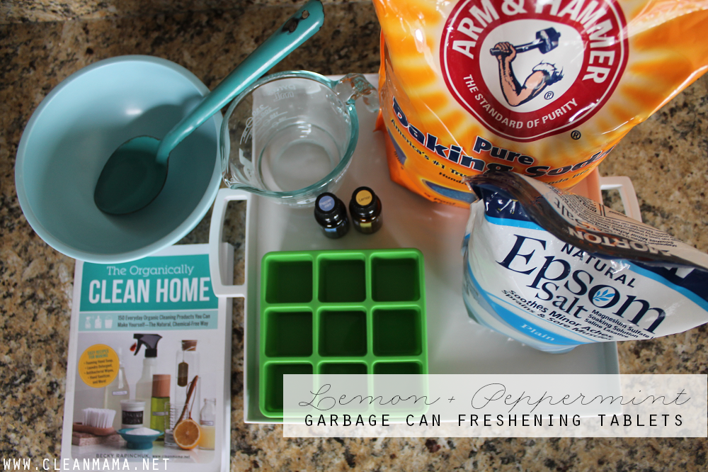 Lemon + Peppermint Garbage Can Freshening Tablets via Clean Mama