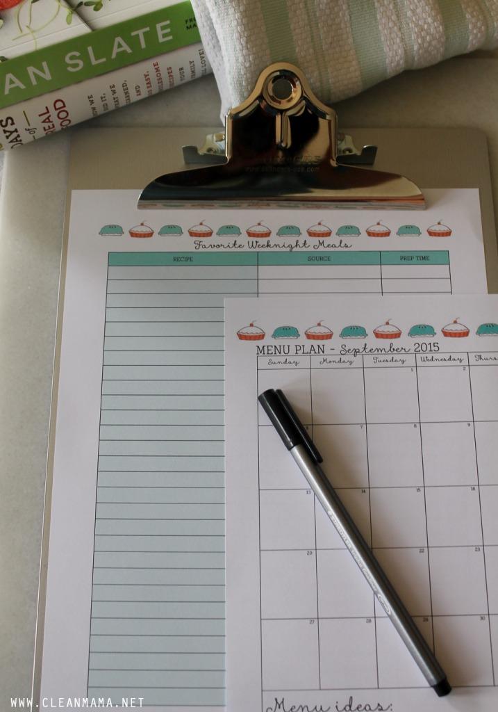 Menu Planning - September Homekeeping Society via Clean Mama