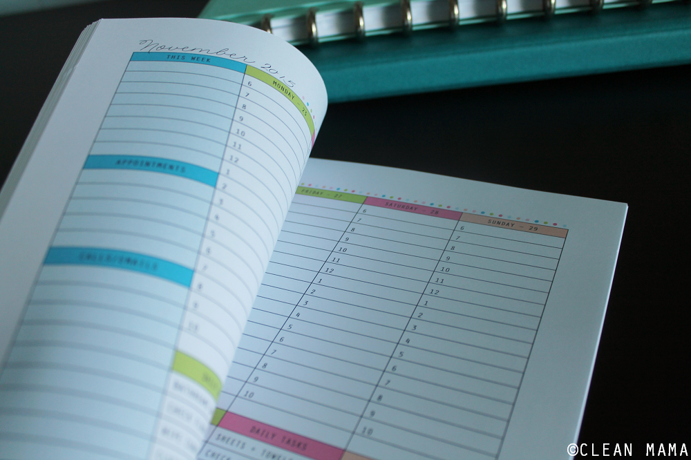 Planner Close-up - Everyday a Little Something Planner via Clean Mama