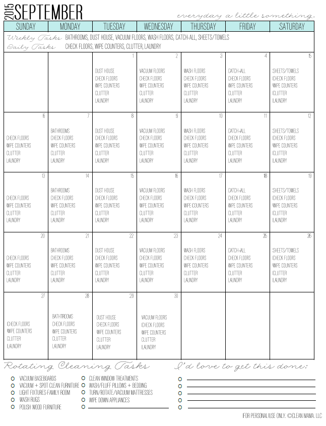 September Fresh Start Cleaning Calendar courtesy of Clean Mama