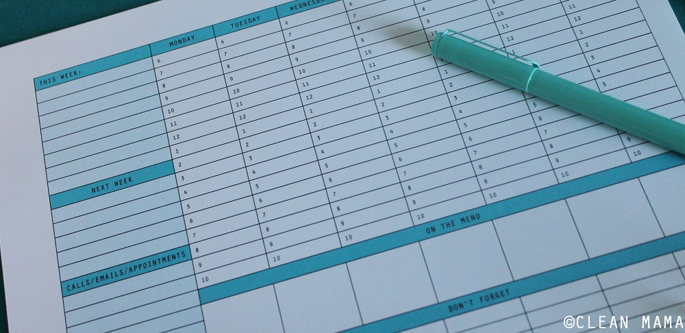 Weekly Planner Close-Up - The Schedule Reset via Clean Mama