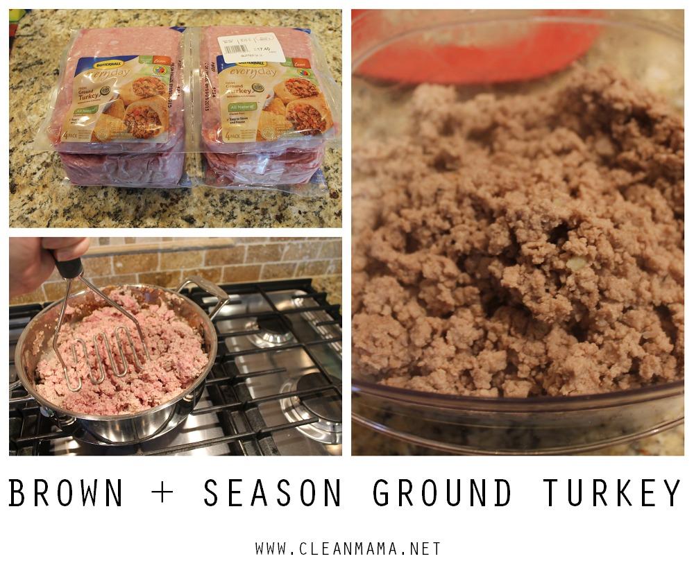 Brown and Season Ground Turkey - via Clean Mama