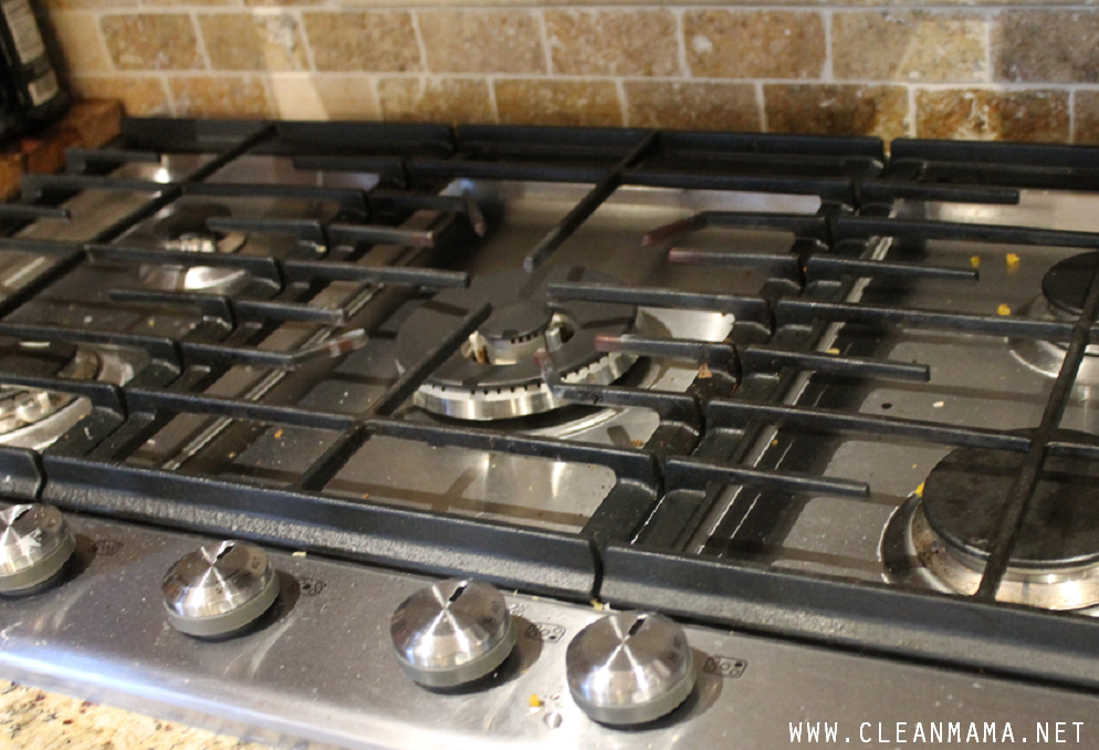 Gas Cooktop BEFORE via Clean Mama
