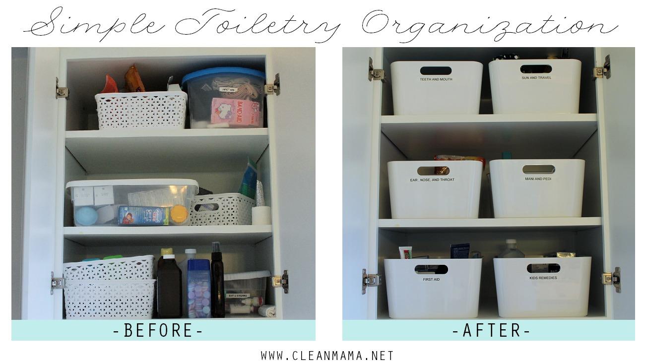 Simple Toiletry Organization via Clean Mama