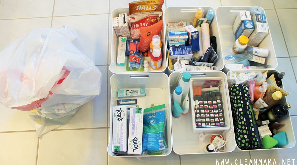 Toss Pile and Re-Grouped and Sorted Toiletries via Clean Mama