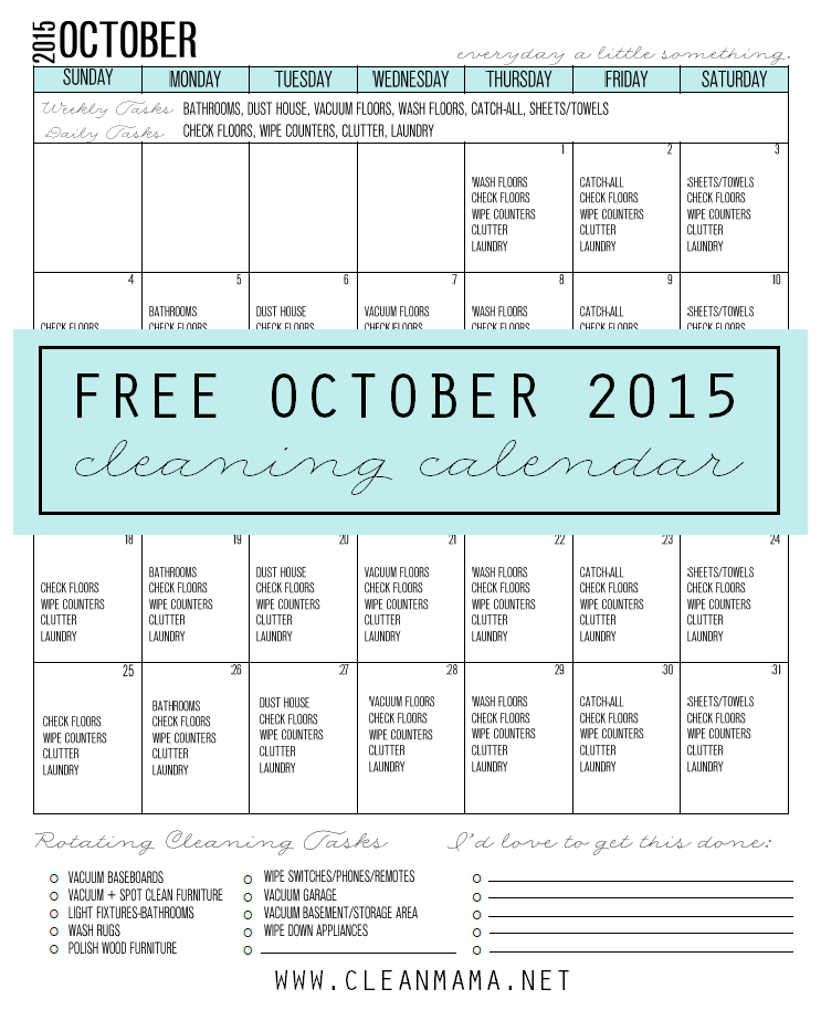 Try this FREE Cleaning Calendar for October 2015 via Clean Mama
