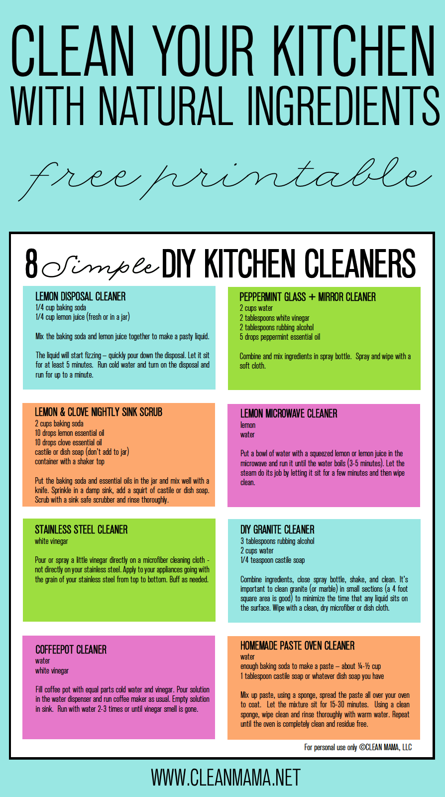 8 Simple DIY Kitchen Cleaners + FREE Printable
