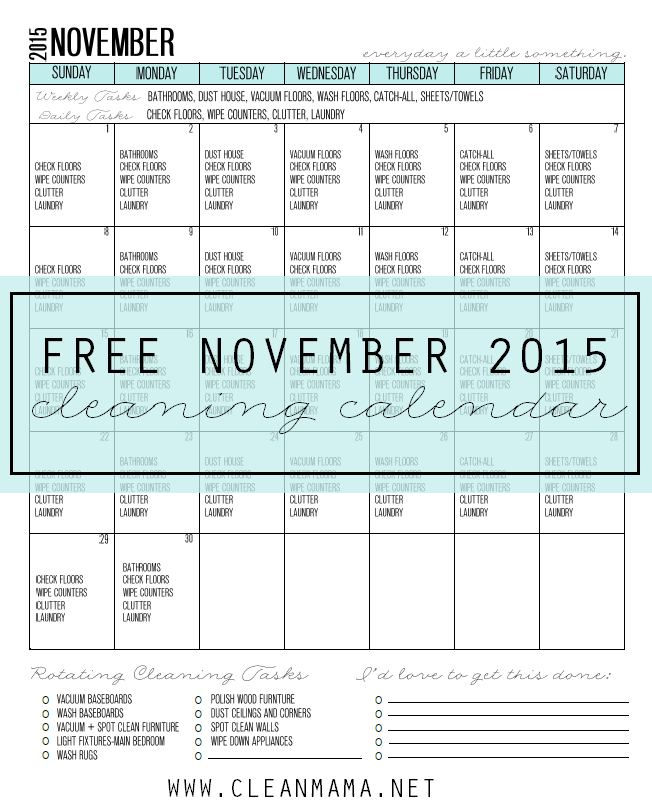 Free Cleaning Routine for November main via Clean Mama