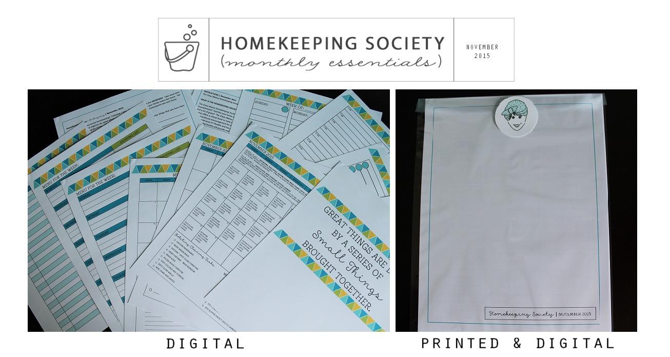 November Homekeeping Society - Digital and Printed for You via Clean Mama