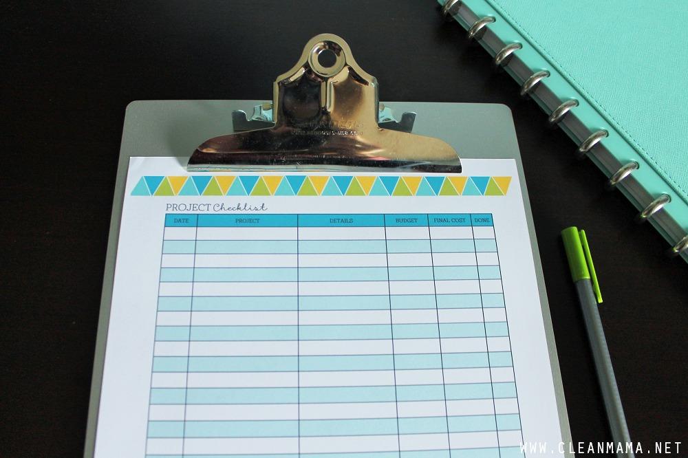 November Homekeeping Society - Project Checklist via Clean Mama